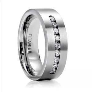 Other - Mens 8MM Stainless Steel Titanium Studded Band